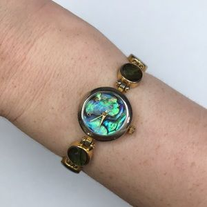 Vtg green gold abalone shell bracelet watch quartz